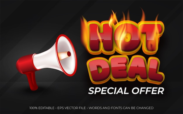 Hot deal special offer banner with megaphone