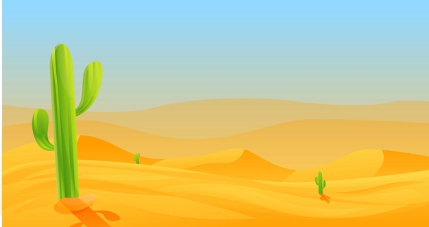 Hot desert  banner, cartoon style