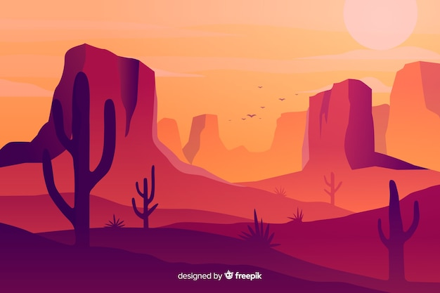 Hot desert landscape background with cacti