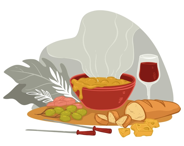 Hot dinner or lunch at restaurant or home. table served with creamy soup with cheese, grapes and sliced bread. skewers and glass with beverage. romantic serving in winter. vector in flat style