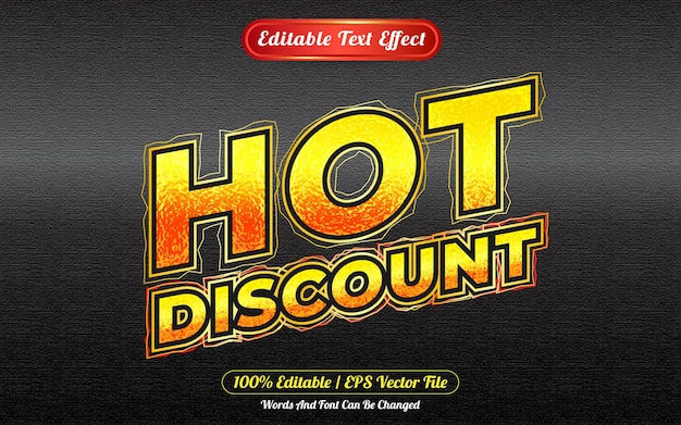 Hot discount editable text effect template style