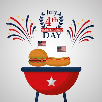 Hot dog and burger food american independence day