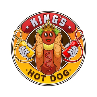 Hot dog badge illustration