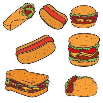 Hot dog, burger, taco, sandwich, burrito .set of fast food icons  on white background.  elements for logo, label, emblem, sign, brand mark.