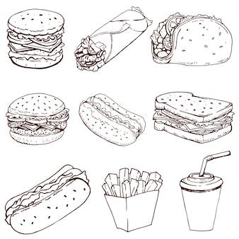 ホットドッグ、ハンバーガー、タコス、サンドイッチ、ブリトー。白い背景で隔離のファーストフードのアイコンのセットです。ロゴ、ラベル、エンブレム、記号、ブランドマークの要素。