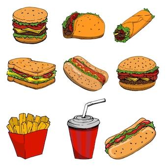 ホットドッグ、ハンバーガー、タコス、サンドイッチ、ブリトー。白い背景のファーストフードのアイコンのセットです。ロゴ、ラベル、エンブレム、記号、ブランドマークの要素。