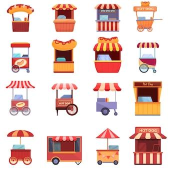 ホットドッグカートのアイコンを設定します。ウェブデザインのホットドッグカートアイコンの漫画セット