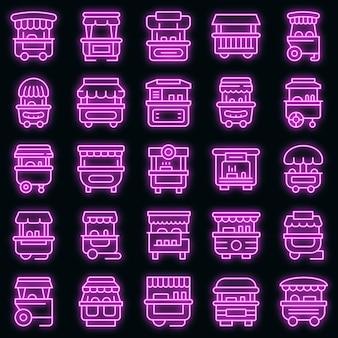 Набор иконок тележка хот-дог. наброски набор хот-дог тележка векторных иконок неонового цвета на черном