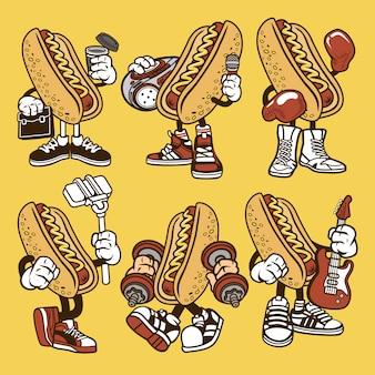 Hot dog cartoon character set