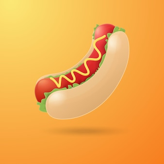 Шаблон оформления иллюстрации шаржа хот-дог