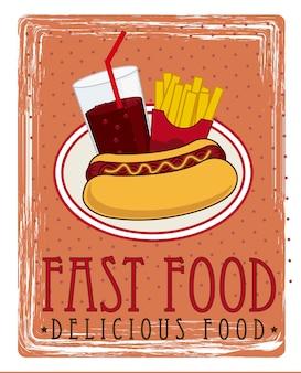 Hot dog cartoon over red background vector illustration