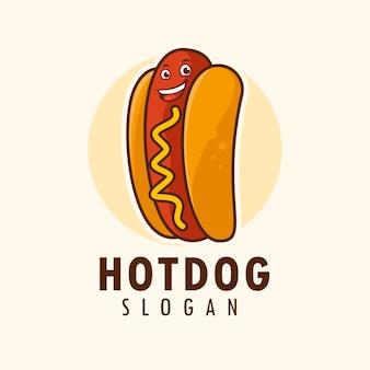 Hot dog character logo design template