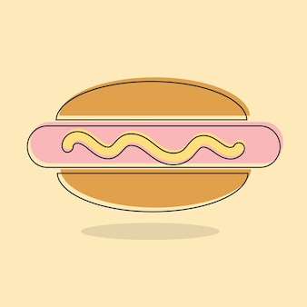 Hot dog, cooked sausage sandwich line icon, filled outline vector sign, linear colorful pictogram isolated. logo illustration