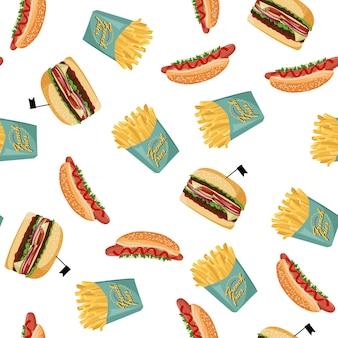 ホットドッグ、フライドポテト、ハンバーガーのシームレスなパターン。ファーストフードのカラフルな背景。