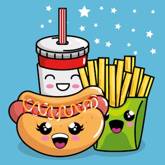Hot dog and french fries with soda kawaii character
