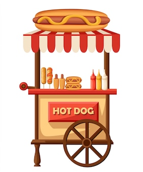 Hot dog    illustration of fast food car. mobile retro vintage shop truck icon with signboard with big hot dog. side view,  on white background. fast or junk food concept.