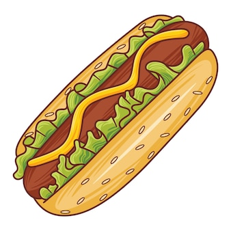 Иллюстрация хот-дог в современном стиле плоского дизайна