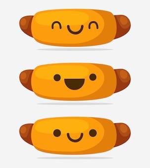 Каваи иллюстрация хот-дог