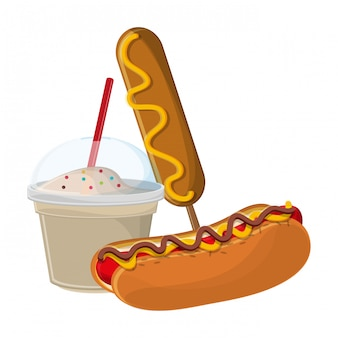 Hot dog and milkshake with hot dog