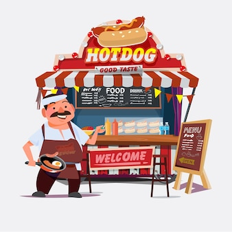 Hot-dog outdoor cart with seller. chef character design