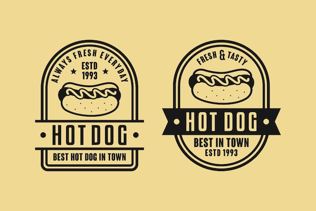 Hot dog restaurant logo set