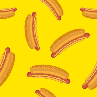 Hot dog seamless pattern on yellow background sandwich grilled sausage in crispy bun wallpaper fast