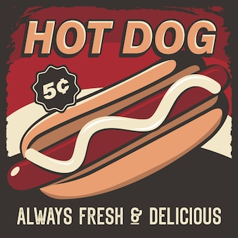 Hot dog signage poster retro rustic vector