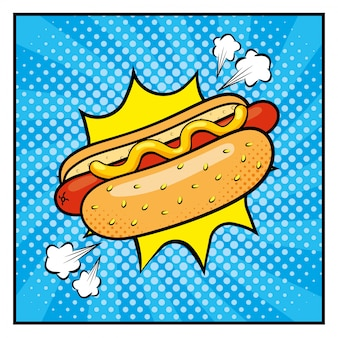 Hot dog with sauces and pop art style
