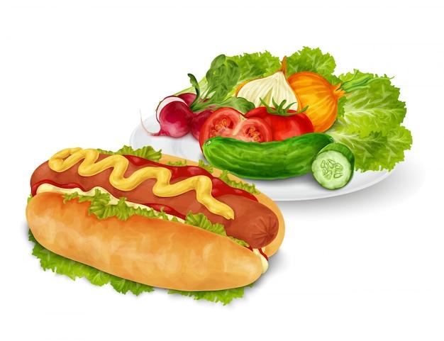 Хот-дог с овощами