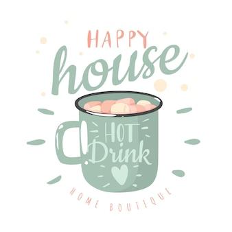 ホットドリンクカップ。ホットチョコレート、マシュマロ、レタリングが入ったエナメルカップ、幸せで居心地の良い家、あなたの家への愛。概念