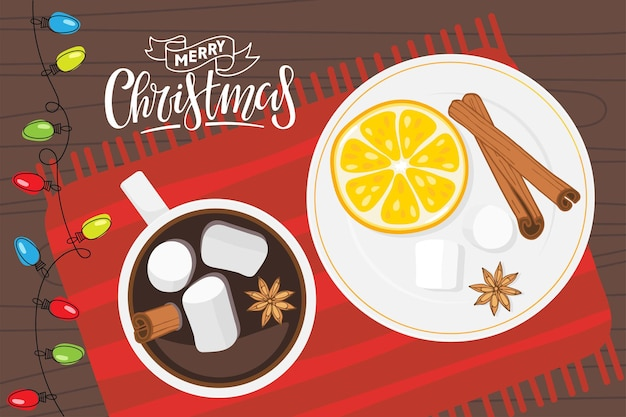 Hot drink cup and plate with orange slice and spices stands on red napkin hot chocolate or coffee