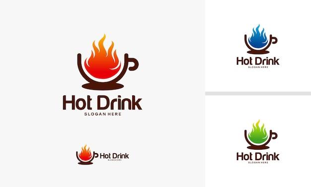 Hot drink logo designs concept, hot cup logo template, cup logo symbol