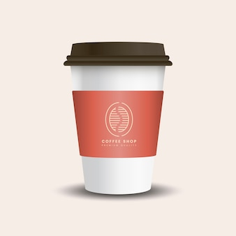 Hot drink paper cup with mockup sleeve vector