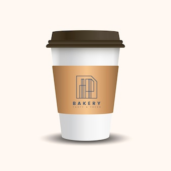 Hot drink paper cup with mockup sleeve