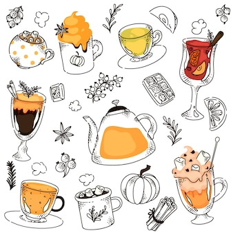 Hot drink variety collage with berry and cinnamon
