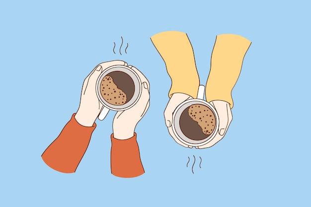 Горячие напитки на завтрак концепции.
