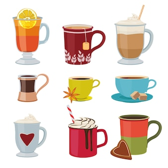 Hot drinks. warm mugs tea coffee cocoa mulled wine collection cartoon pictures.