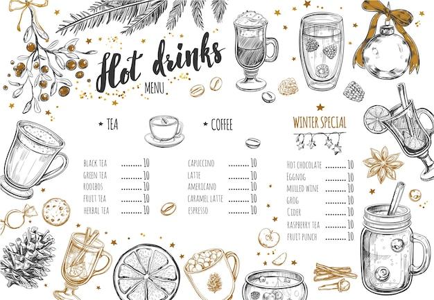Горячие напитки зимнее меню. шаблон дизайна включает в себя различные рисованные иллюстрации и надписи.