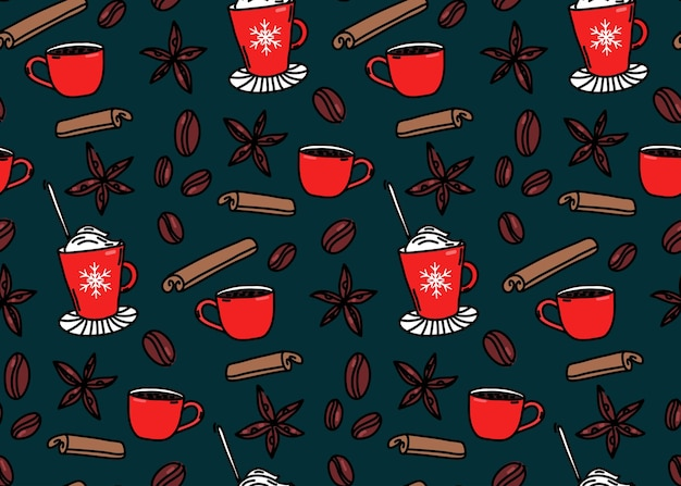 Hot drinks winter pattern seamless background coffee cups cinnamon anise stars and coffee beans