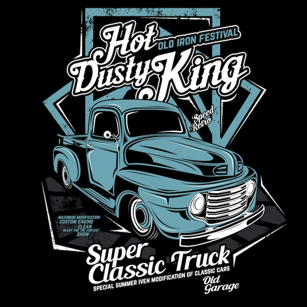 Hot dusty king, vector car illustration