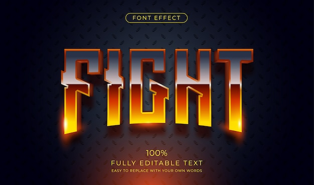 핫 파이트 텍스트 효과. 편집 가능한 글꼴 스타일