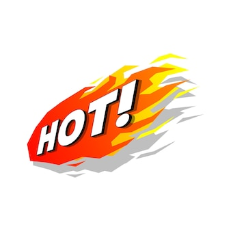 Hot fire promotion label vector.