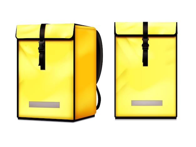 Insieme realistico della borsa dello zaino isolata del corriere di consegna del cibo caldo vista laterale anteriore giallo brillante bright