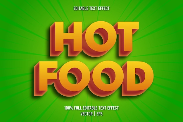 Hot food editable text effect comic style