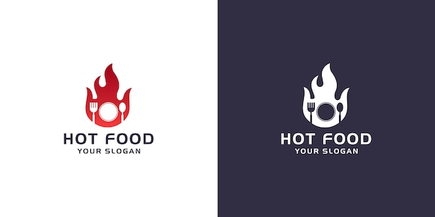 Hot food logo template