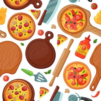 Hot fresh pizza seamless pattern, food element