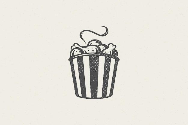 Hot fried chicken drumsticks silhouette in striped bucket hand drawn stamp effect