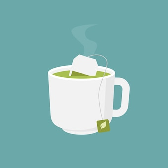 Hot green tea cup flat design  illustration
