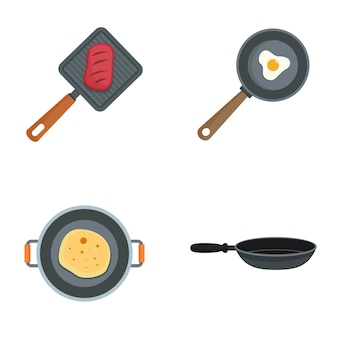 Hot griddle chef icon set