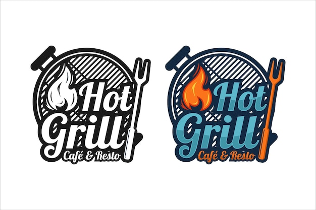 Hot grill cafe and resto 프리미엄 디자인 로고